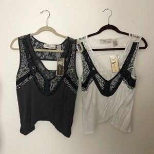 2 vintage Havana t shirts lace and beads NWT